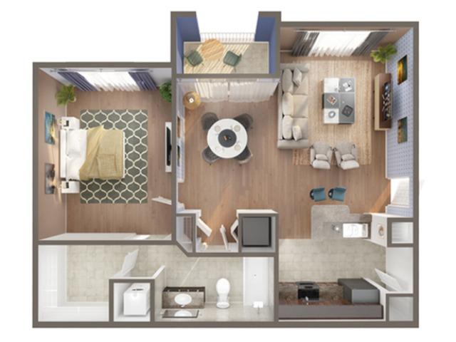 1 Bedroom Floor Plan   Apartments In North Miami   Advenir at Biscayne Shores
