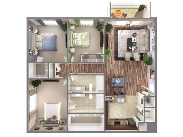 3 Bedroom Floor Plan   Biscayne Bay Miami Apartments   Advenir at Biscayne Shores