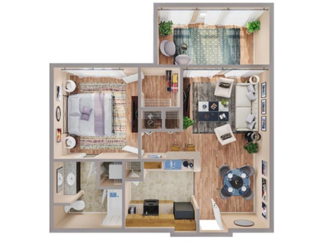 1 Bdrm Floor Plan | Apartments In Humble | Advenir at Eagle Creek