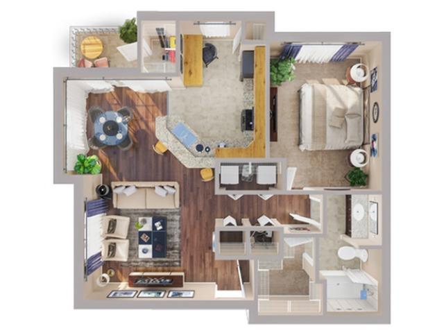 1 Bedroom Floor Plan | Apartments In Humble TX | Advenir at Eagle Creek