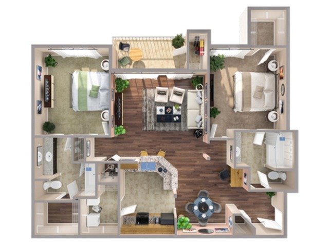 2 Bedroom Floor Plan | Apartments In Humble Texas | Advenir at Eagle Creek