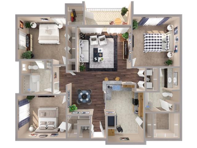 3 Bedroom Floor Plan | Humble TX Apartments | Advenir at Eagle Creek