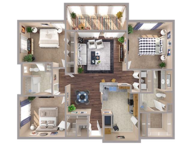 3 Bdrm Floor Plan | Apartments In Humble TX | Advenir at Eagle Creek