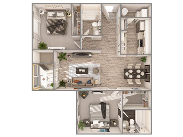 2 Bedroom Floor Plan   Luxury Apartments In Sarasota Florida   Advenir at Ward Lake