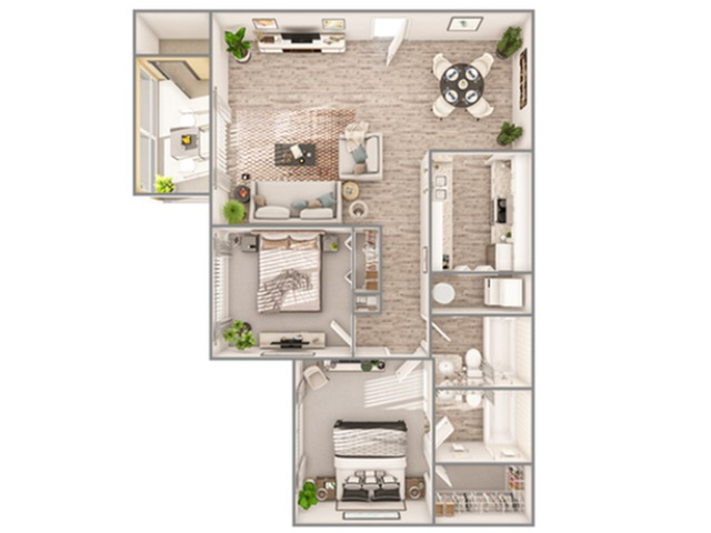 2 Bedroom Floor Plan   Luxury Apartments In Sarasota Florida   Advenir at Gateway Lakes