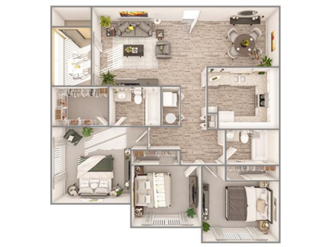 3 Bedroom Floor Plan   Luxury Apartments In Sarasota Florida   Advenir at Gateway Lakes