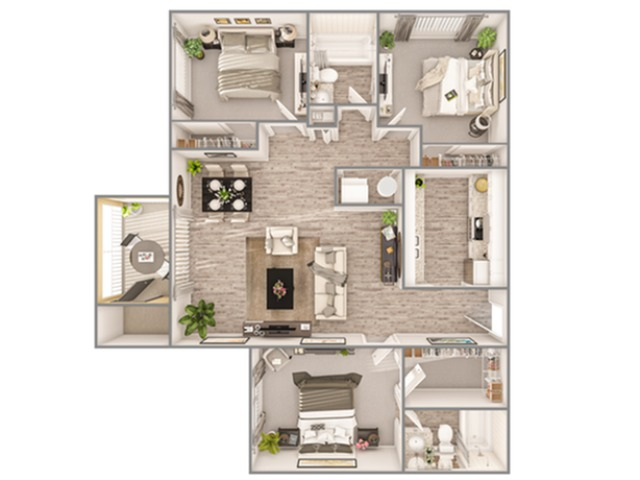3 Bedroom Floor Plan | Luxury Apartments In Sarasota Florida | Advenir at Gateway Lakes