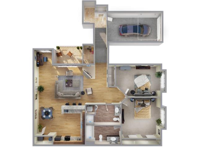 2 Bedroom Floor Plan | Apartments In Aurora Colorado