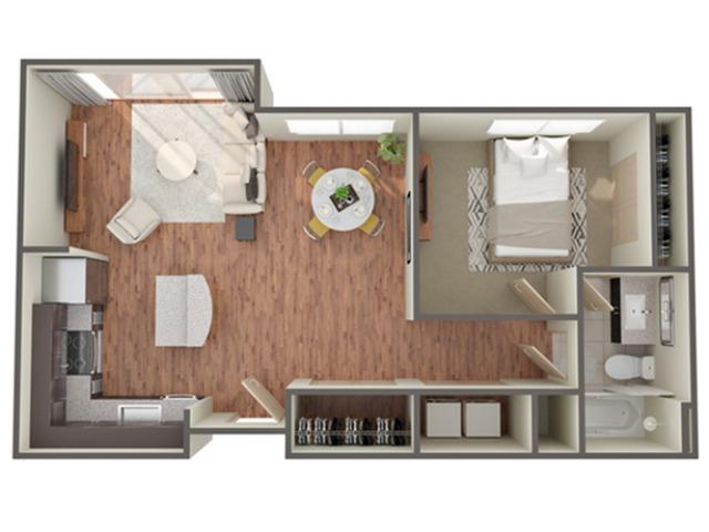 One Bedroom Floor Plan   Apartments In Birmingham AL  Station 121