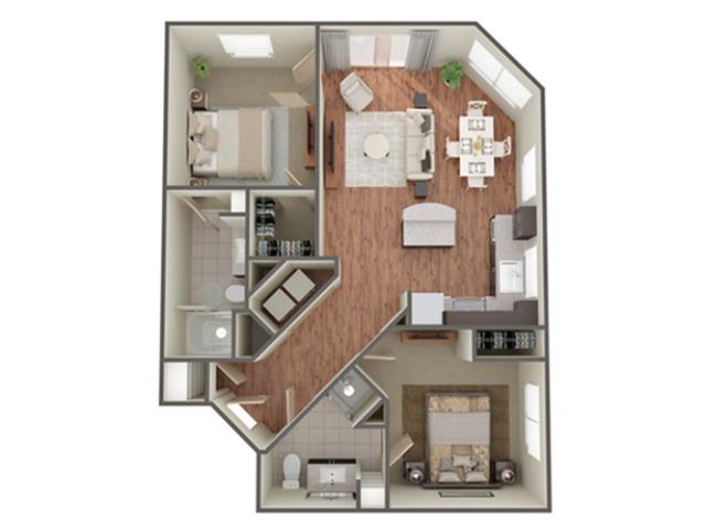 2 Bedroom Floor Plan   Apartments In Birmingham AL  Station 121