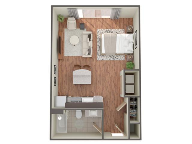 Studio Floor Plan   Apartments In Birmingham AL  Station 121