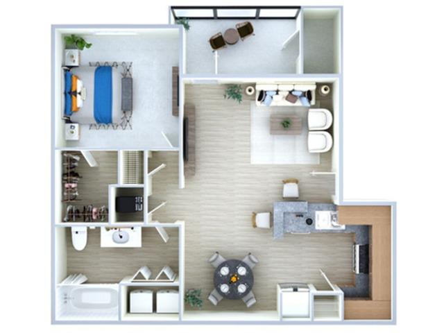 1 Bedroom Floor Plan | Apartments In Southwest Houston TX | Advenir at the Med Center