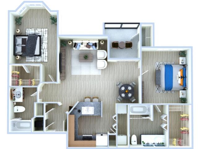 2 Bedroom Floor Plan | Apartments Near Medical Center Houston | Advenir at the Med Center