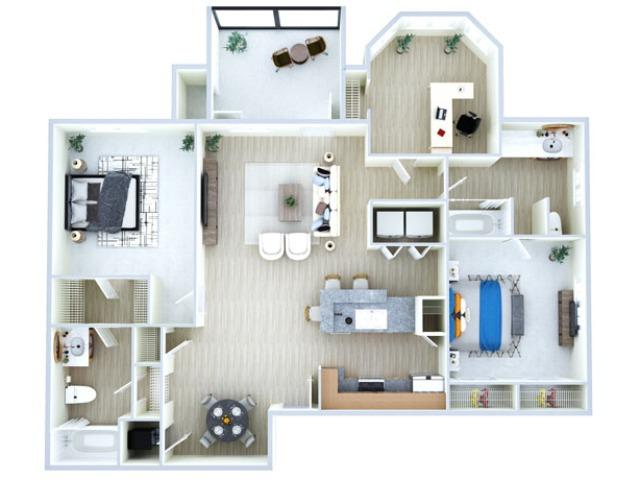 Three Bedroom Floor Plan | Apartments Southwest Houston TX | Advenir at The Med Center