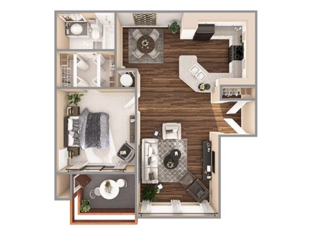 1 Bedroom Floor Plan | Apartments In Boynton Beach | Advenir at La Costa