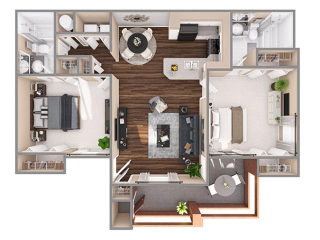 2 Bedroom Floor Plan | Apartments In Boynton Beach Florida | Advenir at La Costa