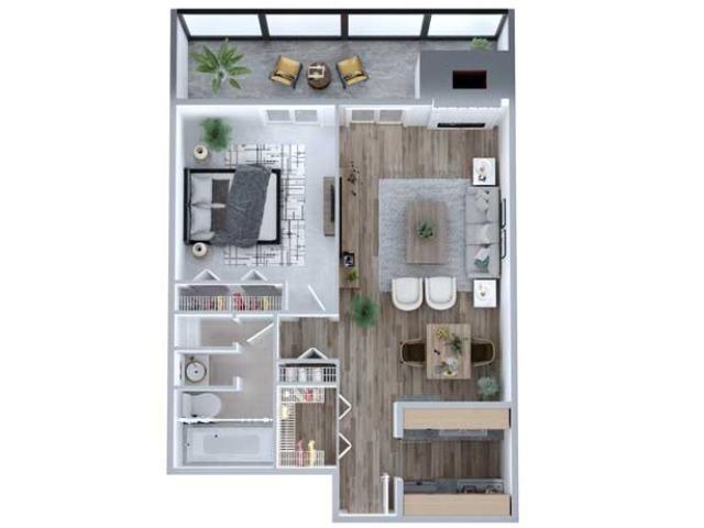 1 Bedroom Floor Plan   South Denver Apartments   Advenir at French Quarter