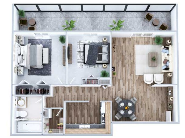 2 Bedroom Floor Plan   Denver Apartments   Advenir at French Quarter