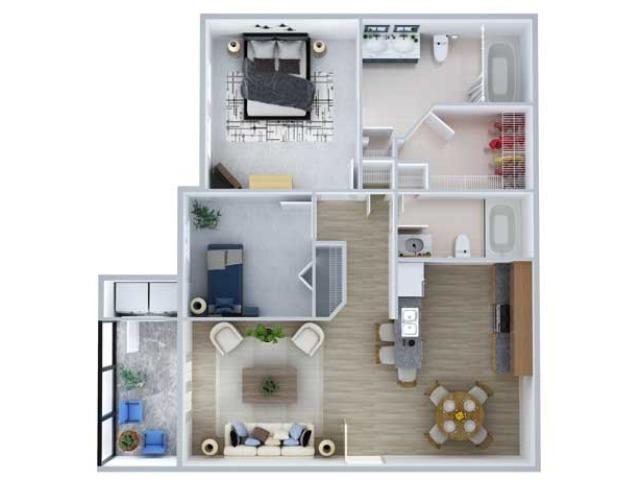 Two Bedroom Floor Plan | Apartments Midland TX | Advenir at Mayfield