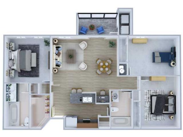 Three Bedroom Floor Plan | Apartments Midland TX | Advenir at Mayfield
