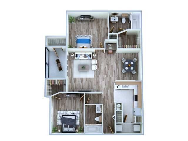 2 Bedroom Floor Plan | Sugar Land Texas Apartments | Advenir at Milan
