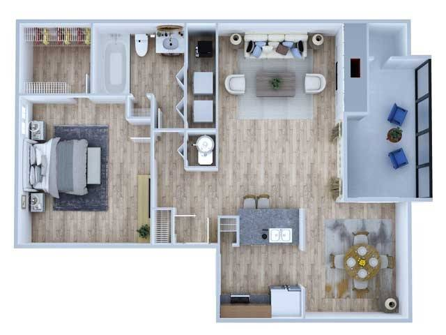 One Bedroom Floor Plan   Apartments Midland TX   Advenir at The Meadows