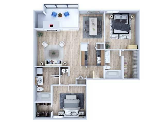 Two Bedroom Floor Plan   Apartments Midland TX   Advenir at The Meadows
