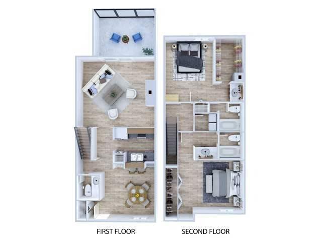 Townhome Floor Plan   Apartments Midland TX   Advenir at The Meadows