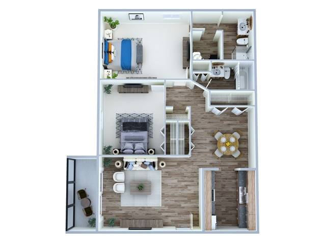 2 Bedroom Floor Plan | Fern Park Apartments | Magnolia