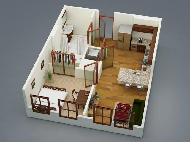 A1-II: 1 Bed - 1 Bath Standard Shared