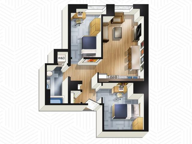 2x1. Floors 3-13