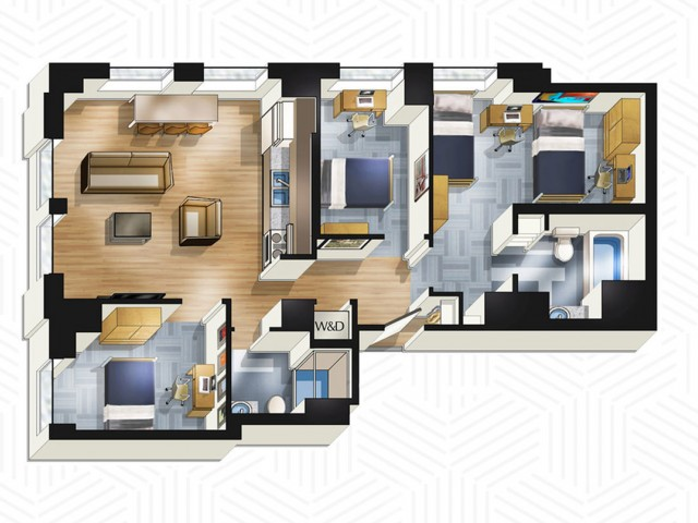 3x2. Floors 3-13