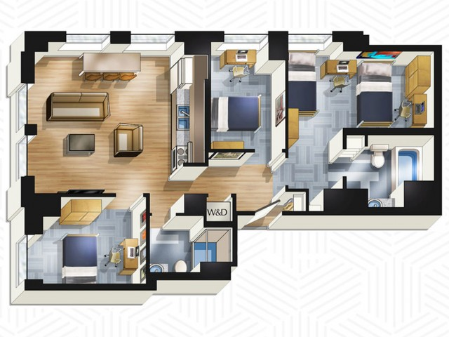 3x2. Floors 22-25
