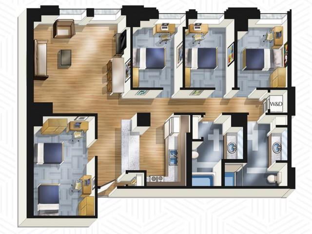 4x2. Floors 14-18