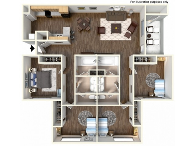4x2U Floor Plan | University Meadows | Apartments in Mt Pleasant, MI