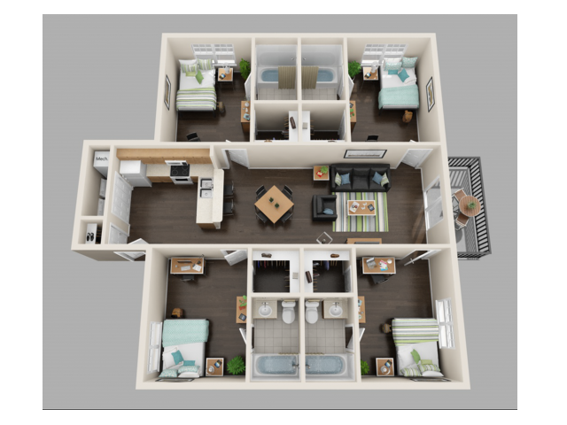 4x4 Floor Plans | Valley Falls | Apartments in Spartanburg, SC