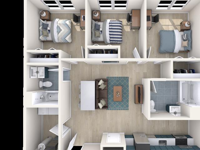 2 Rooms in top left merged