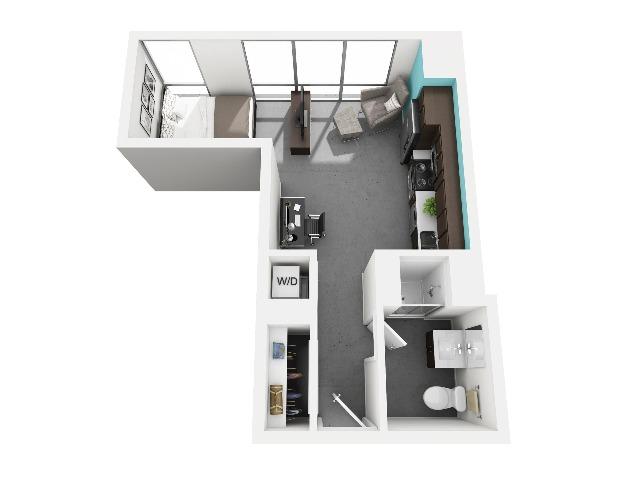 Studio floorplan | Vue 53 | Chicago IL Apartment For Rent