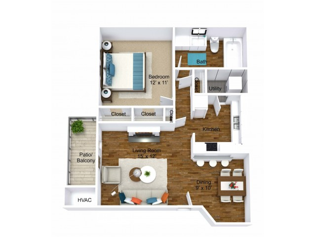 1 Bedroom Floor Plan | Apartments in Grand Rapids | Central Park Place
