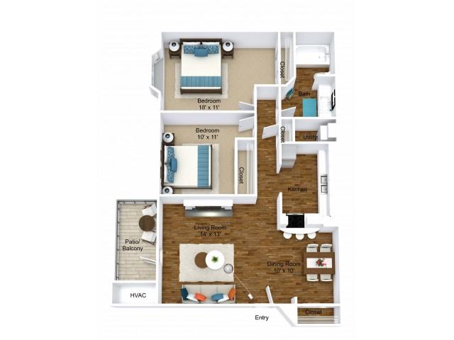 2 Bdrm Floor Plan | Pet Friendly Apartments in Grand Rapids MI| Central Park Place