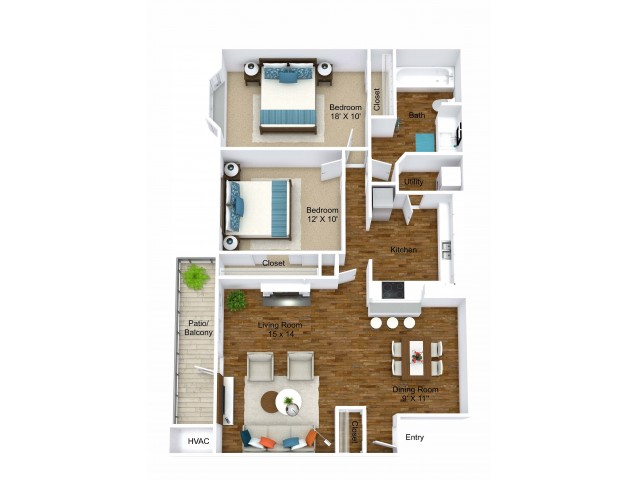 2 Bedroom Floor Plan | Grand Rapids Apartments | Central Park Place