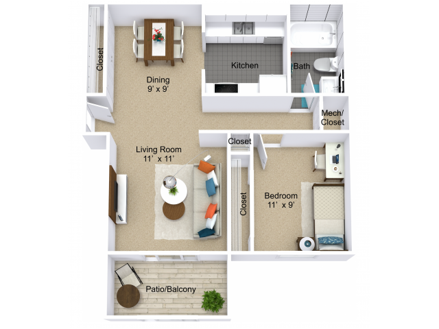 1 Bedroom Floor Plan | Indianapolis Apartments | Emerson