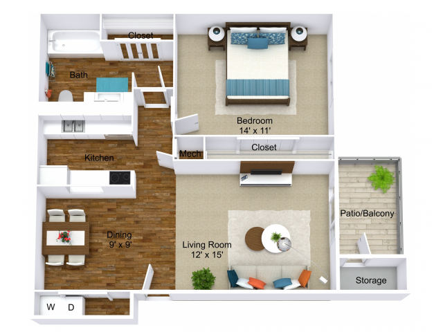 1 Bdrm Floor Plan | Apartments in Indianapolis | Emerson