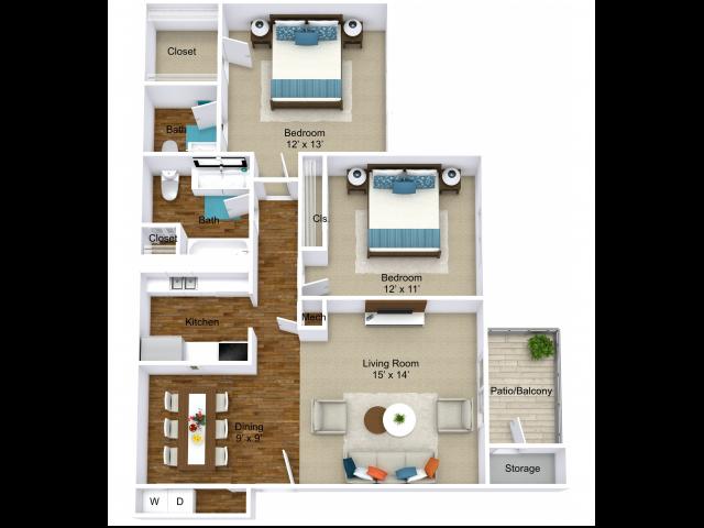 2 Bdrm Floor Plan | Indianapolis Rentals | Emerson