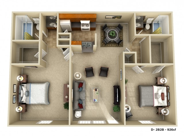 The Lagniappe Executive | 2 bed 2 bath | 926 sq ft
