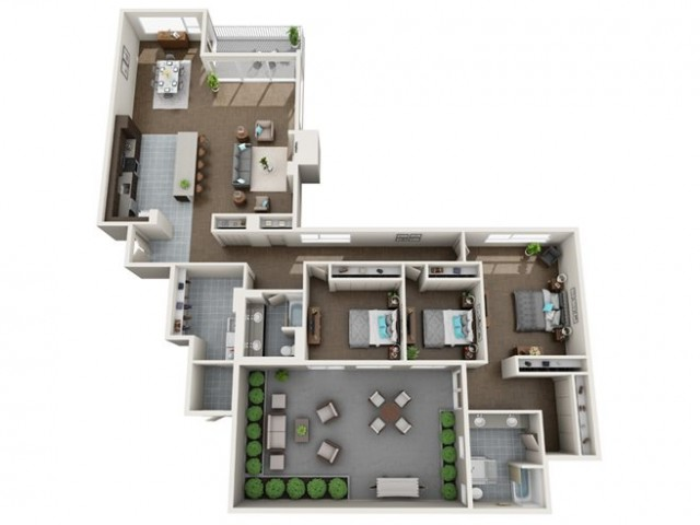 3 Bedroom Floor Plan | Apartments For Rent In Seattle, WA | Panorama Apartments