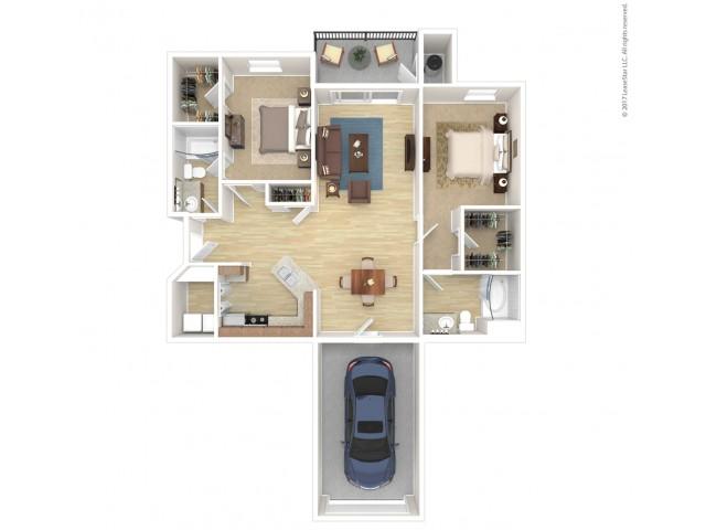2 Bedroom Floor Plan | Apartment For Rent In Phoenix Arizona | Andante Apartments