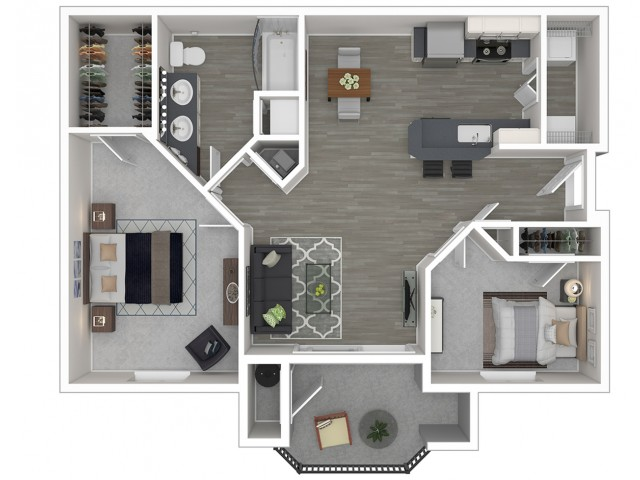 2 Bedroom Floor Plan | Sacramento 2 Bedroom Apartments | Broadleaf Apartments