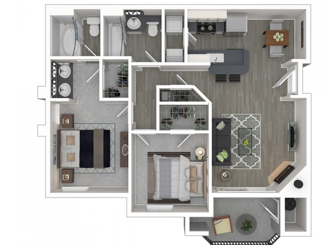 2 Bdrm Floor Plan | Apartments In Sacramento California | Broadleaf Apartments