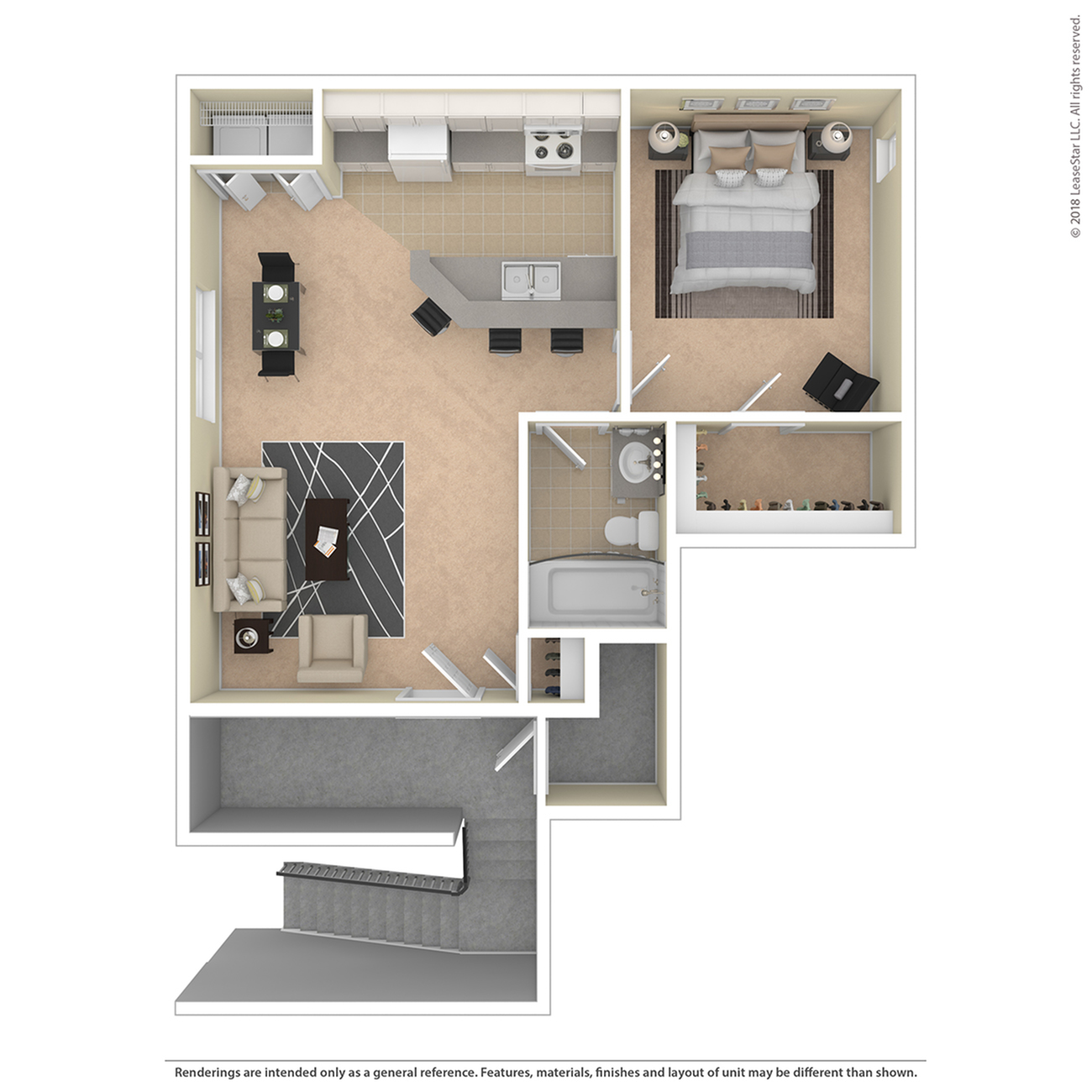 1 Bedroom Floor Plan | Apartments For Rent Colorado Springs | Willows at Printers Park